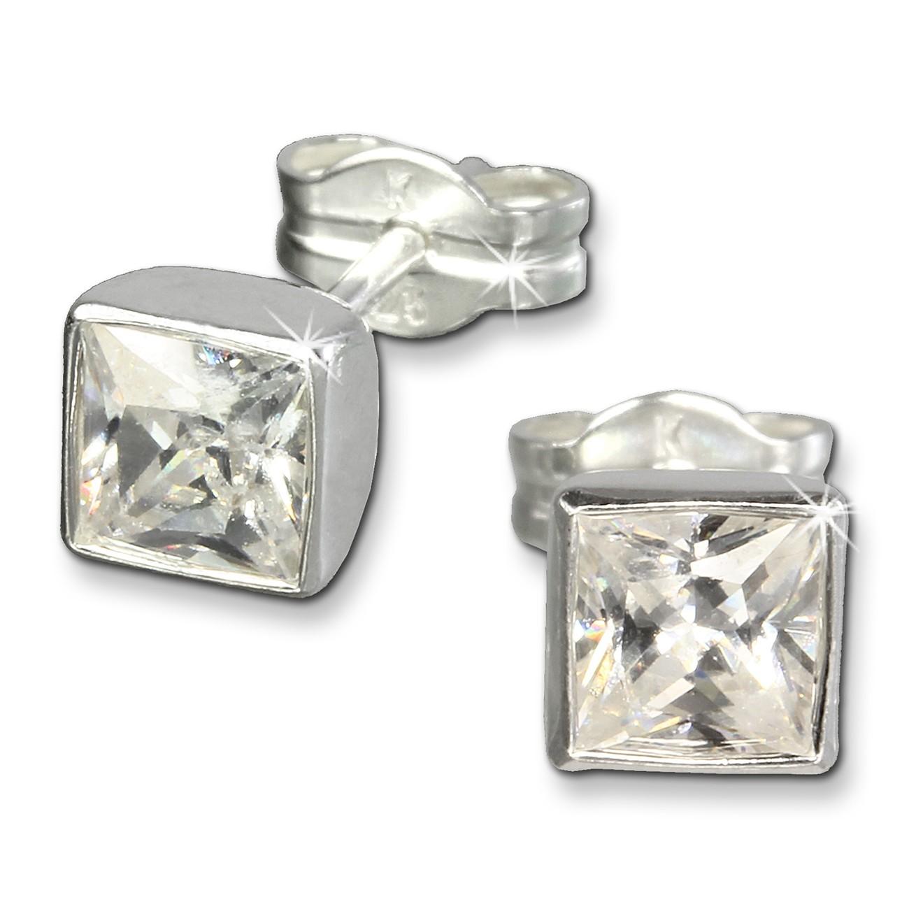 SilberDream Ohrringe Zirkonia weiß 925 Silber Ohrstecker SDO558W