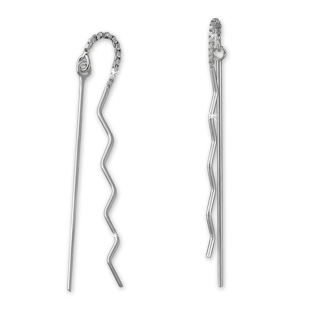 SilberDream Ohrringe Durchzieher Zickzack klein 925er Silber SDO5623