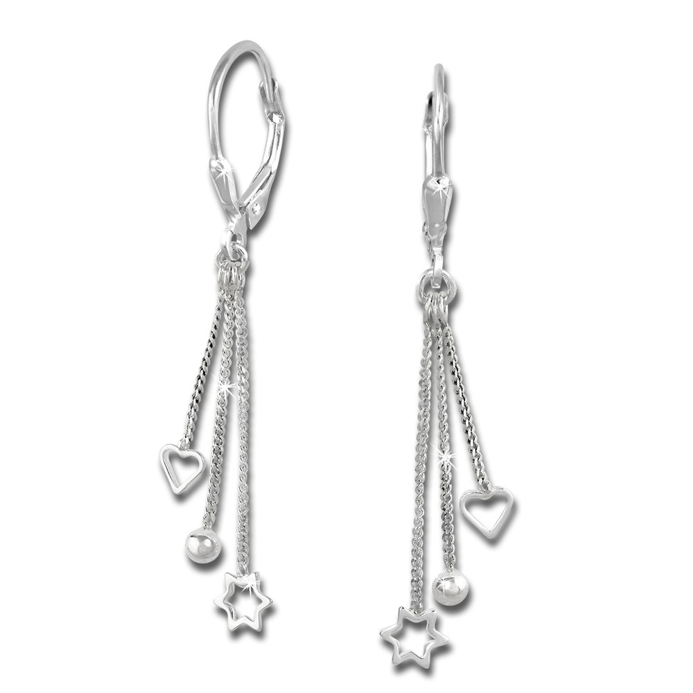 SilberDream Ohrhänger 3er Kettchen Ohrring 925er Silber SDO5733