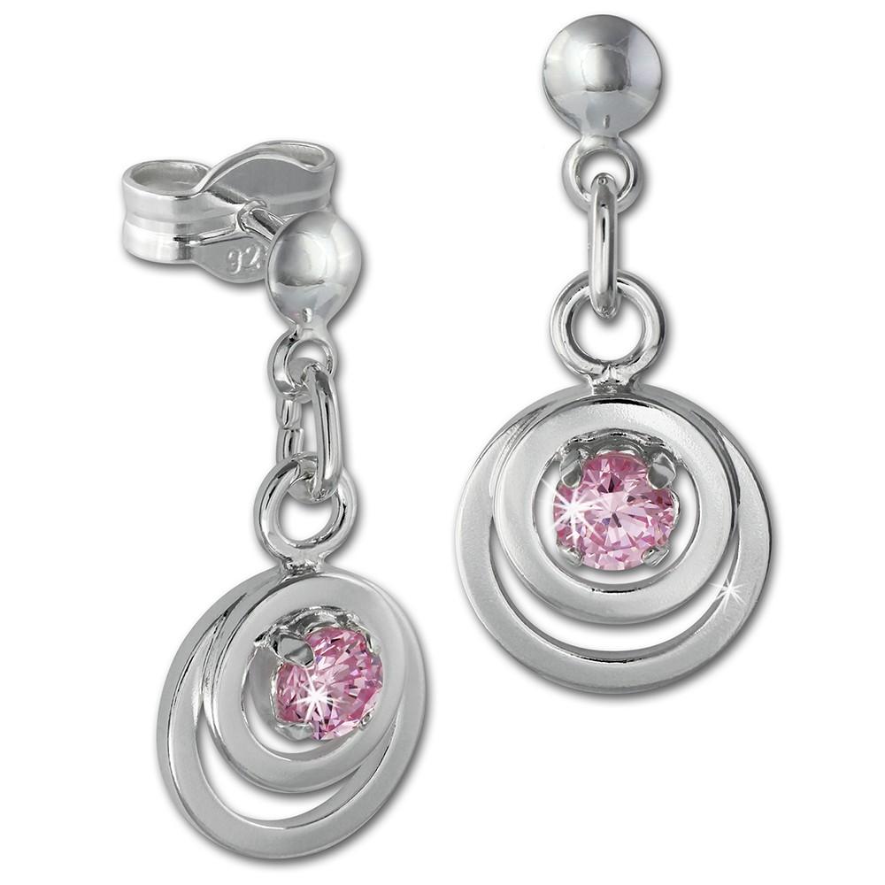SilberDream Ohrring Doppelring Zirkonia rosa 925 Ohrhänger SDO580A