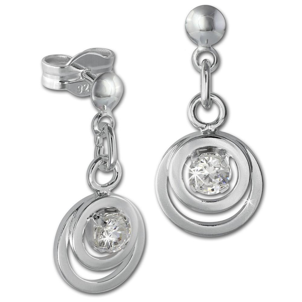 SilberDream Ohrring Doppelring Zirkonia weiß 925 Ohrhänger SDO580W