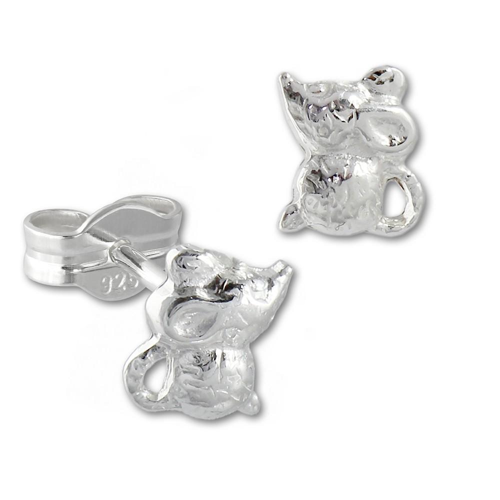Kinder Ohrring Mäuschen 925er Sterling Silber Kinderschmuck TW SDO593J