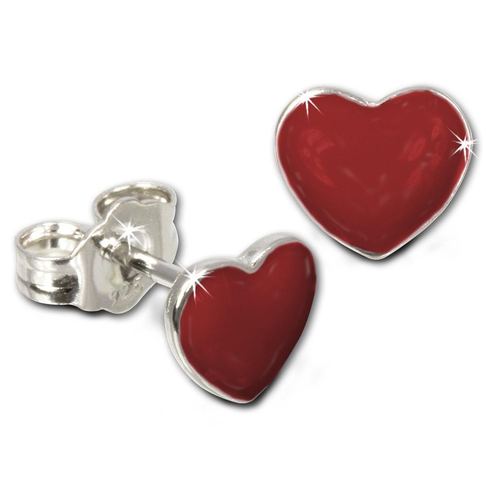 Kinder Ohrring Herz rot Silber Ohrstecker Kinderschmuck TW SDO601R