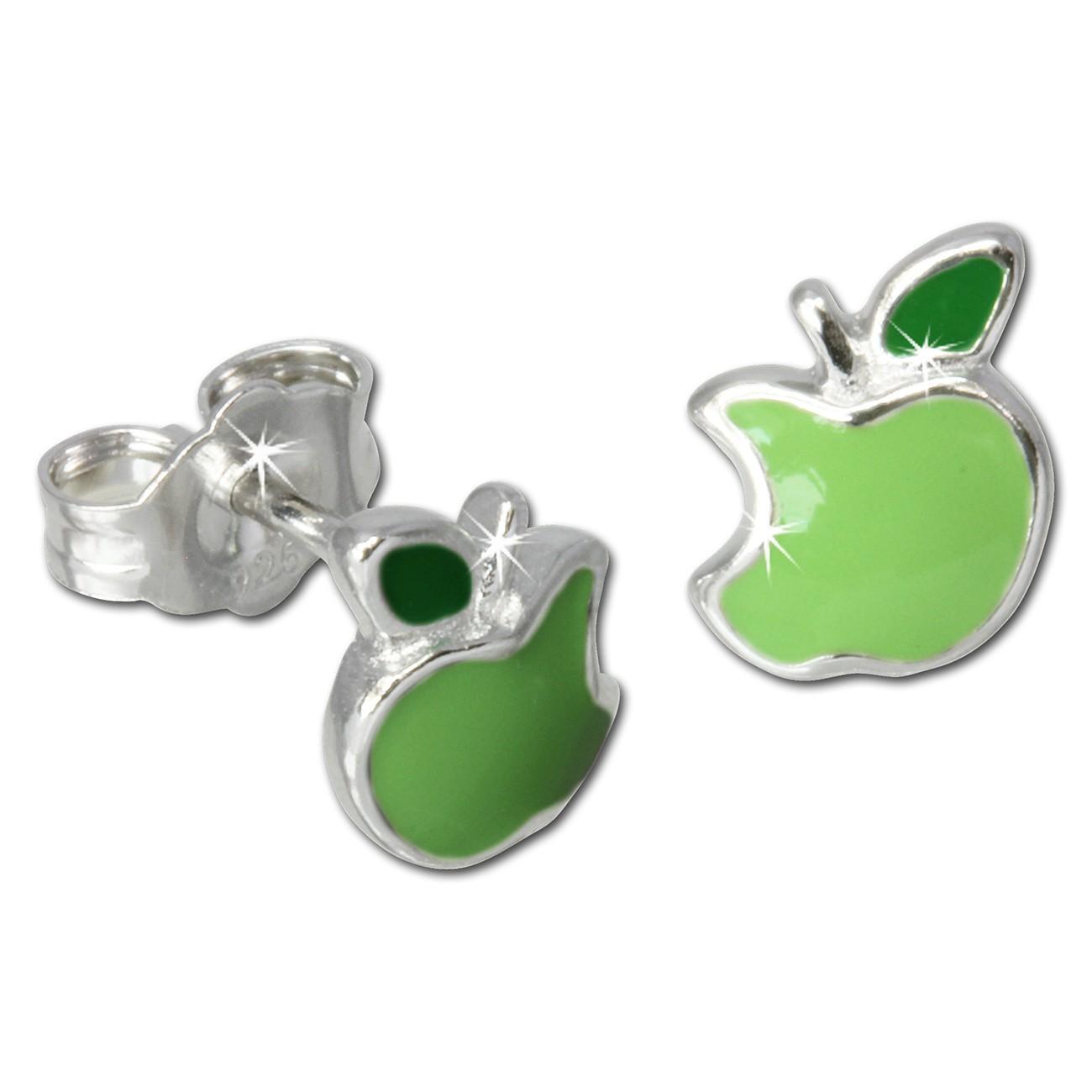 Kinder Ohrring Apfel grün Silber Ohrstecker Kinderschmuck TW SDO604G