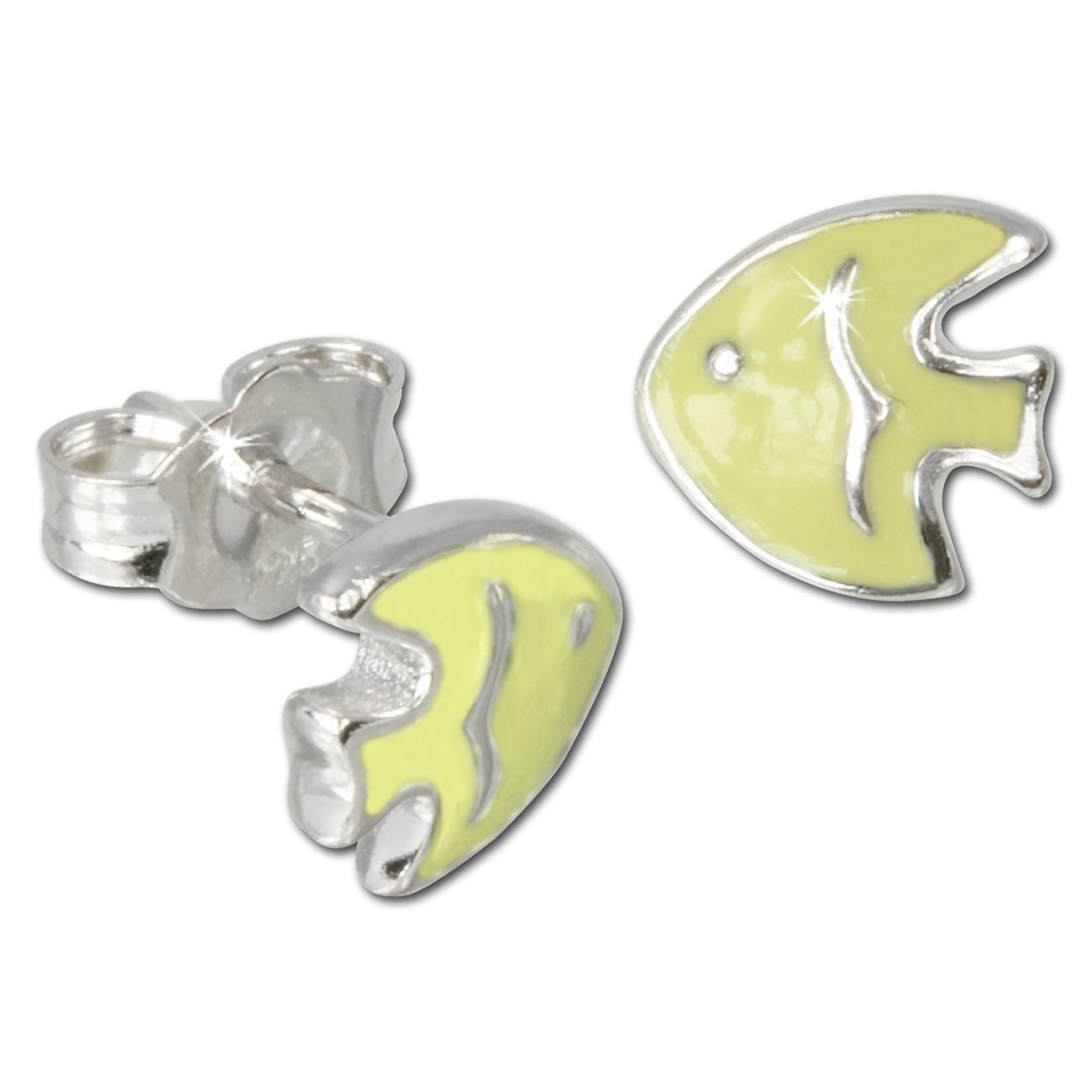 Kinder Ohrring Fisch gelb Silber Ohrstecker Kinderschmuck TW SDO605Y