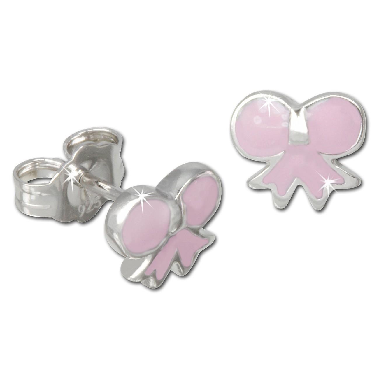 Kinder Ohrring Schleife rosa 925er Ohrstecker Kinderschmuck TW SDO608A