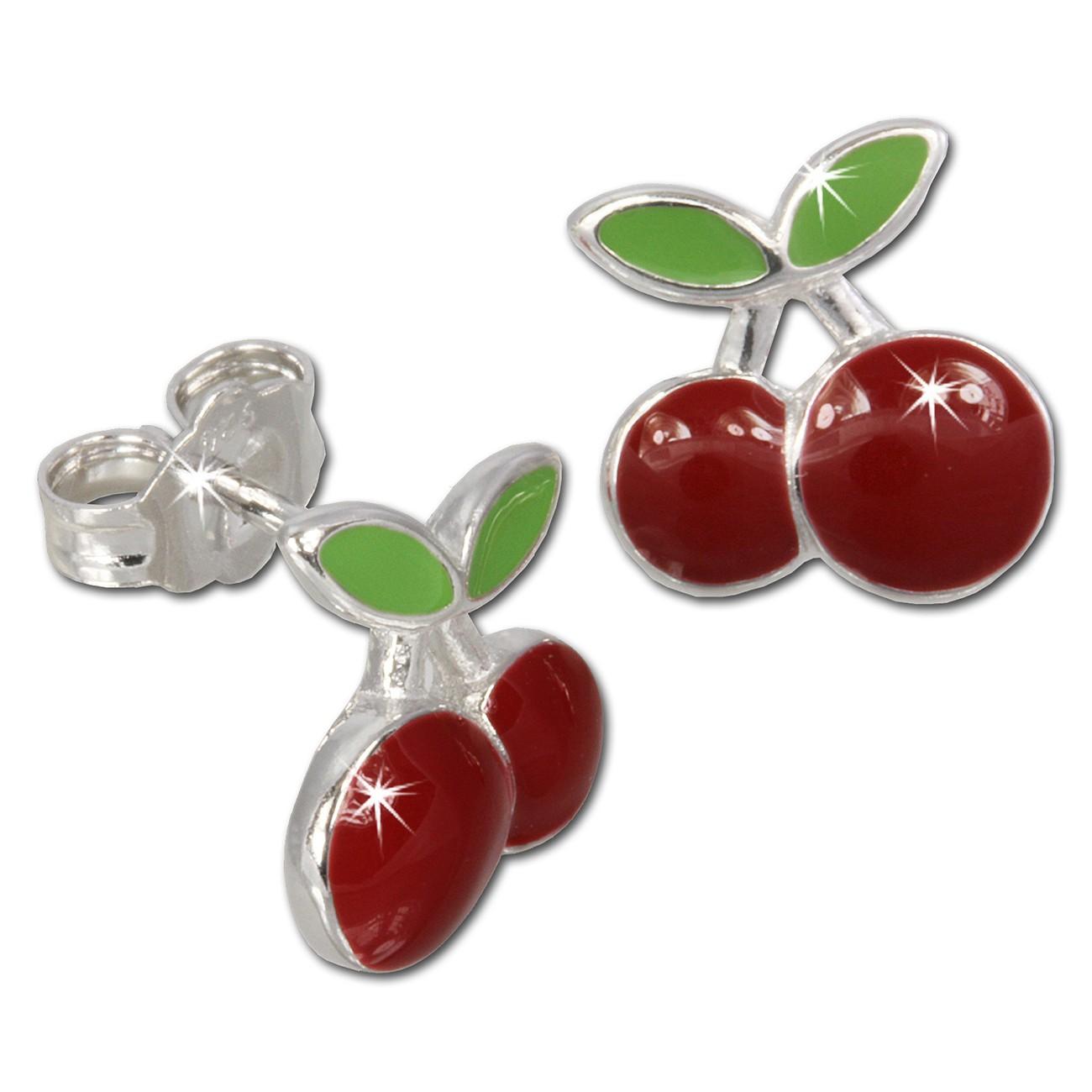 Kinder Ohrring Kirschen rot Silber Ohrstecker Kinderschmuck TW SDO609R