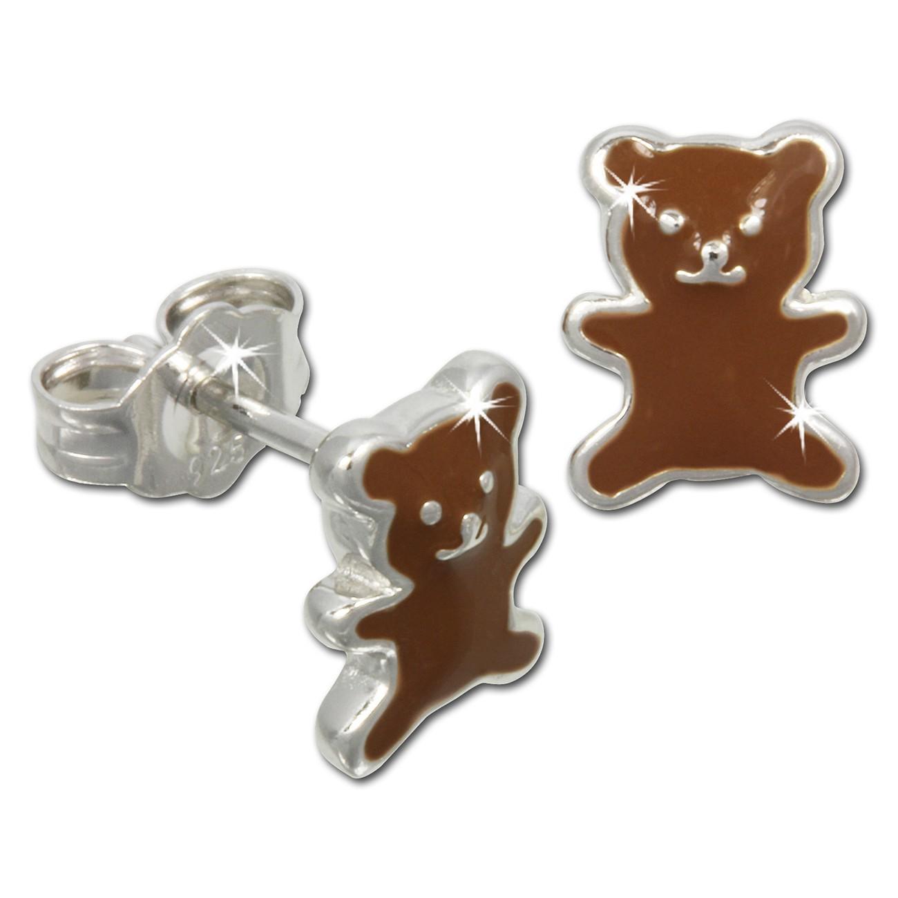 Kinder Ohrring Teddy braun Silber Ohrstecker Kinderschmuck TW SDO610N