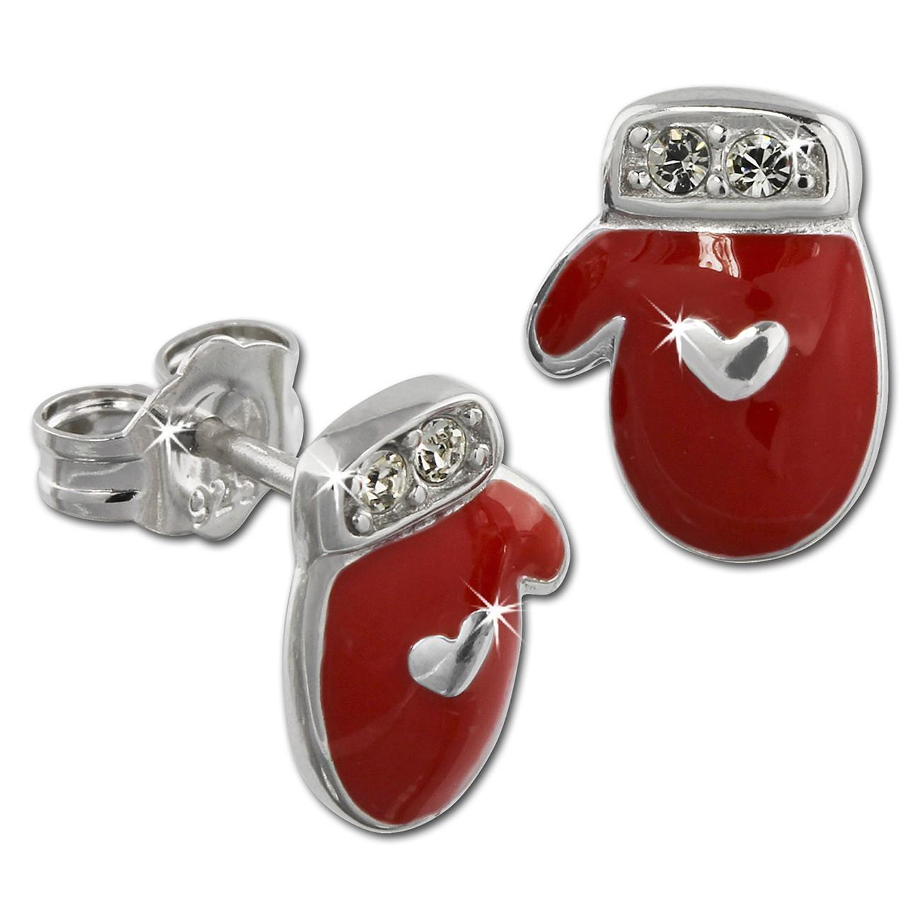 Kinder Ohrring Fausthandschuhe rot Silber Ohrstecker Kinderschmuck TW SDO614R