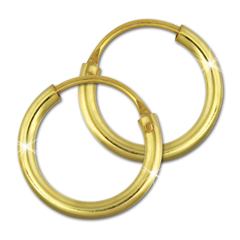 SilberDream Creole Simply vergoldet mini 10mm Ohrring 925 Silber SDO6510Y