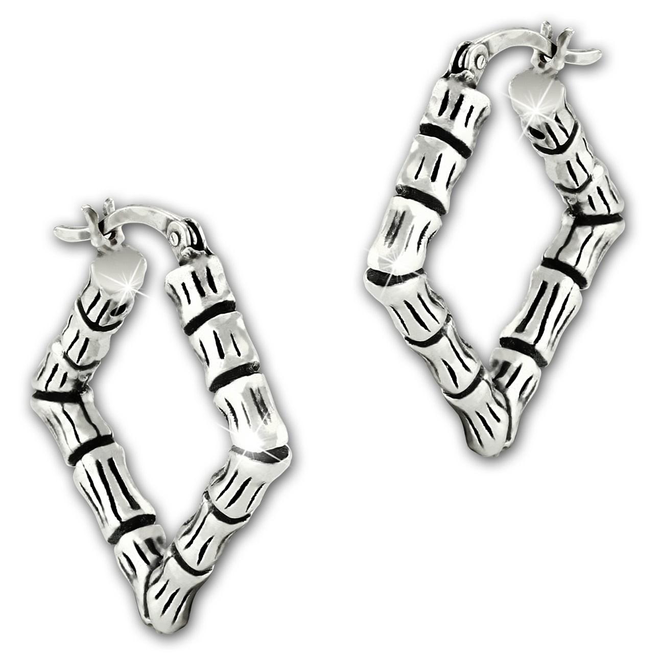 SilberDream Creole Bambus eckig 925er Sterling Silber Damen Ohrring SDO67202