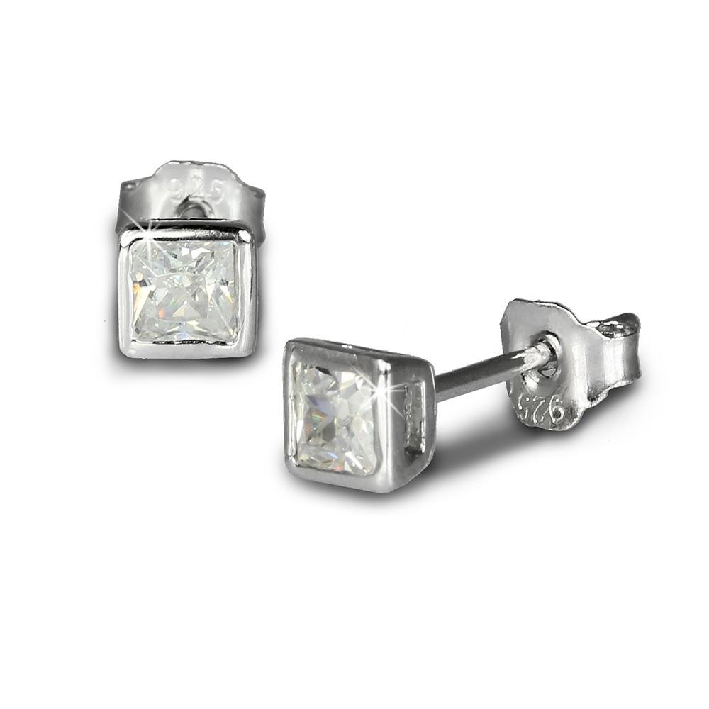 SilberDream Ohrringe Quadrat Zirkonia weiß Silber Ohrstecker SDO704W