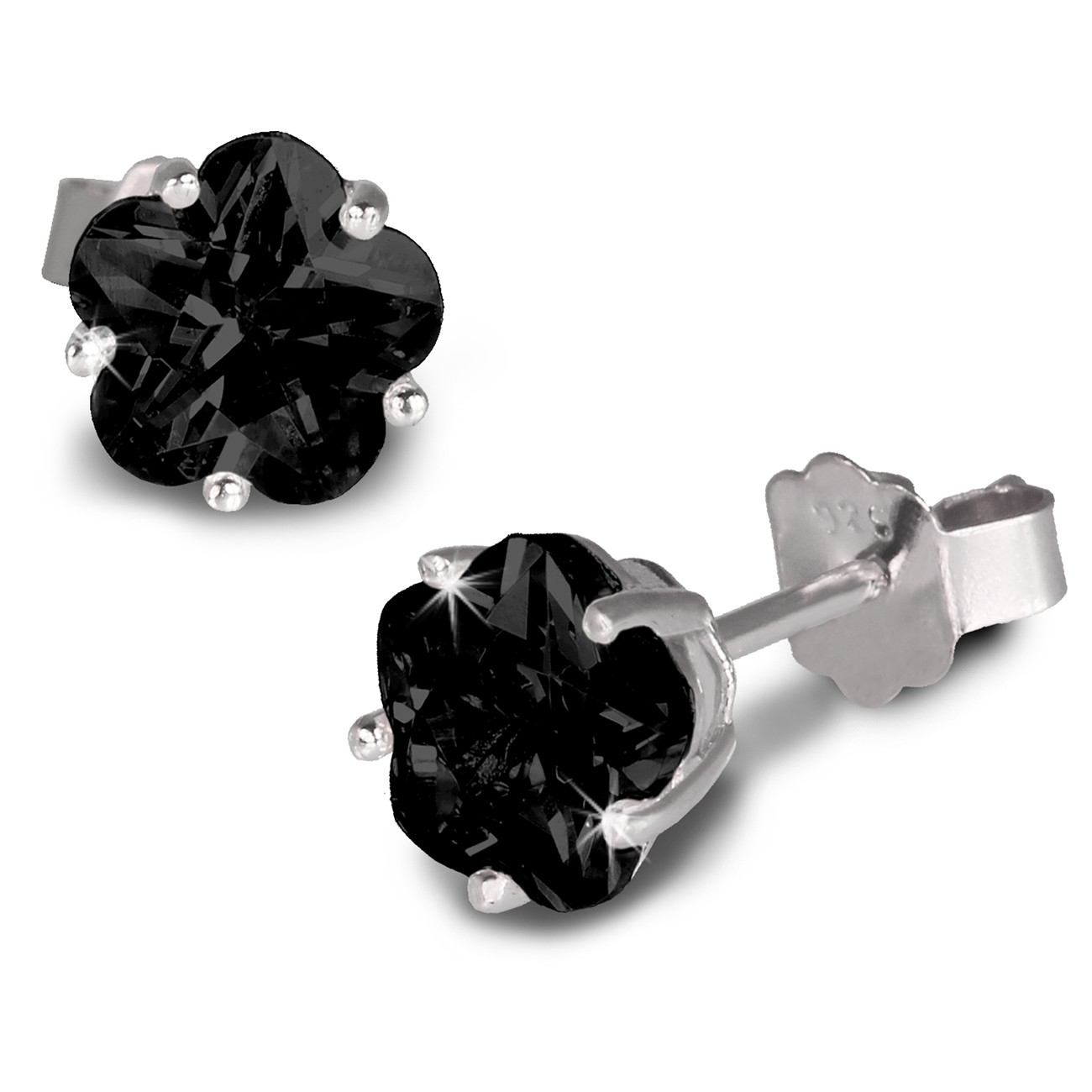 SilberDream Ohrringe Blume 6mm Zirkonia schwarz Silber Ohrstecker SDO736S