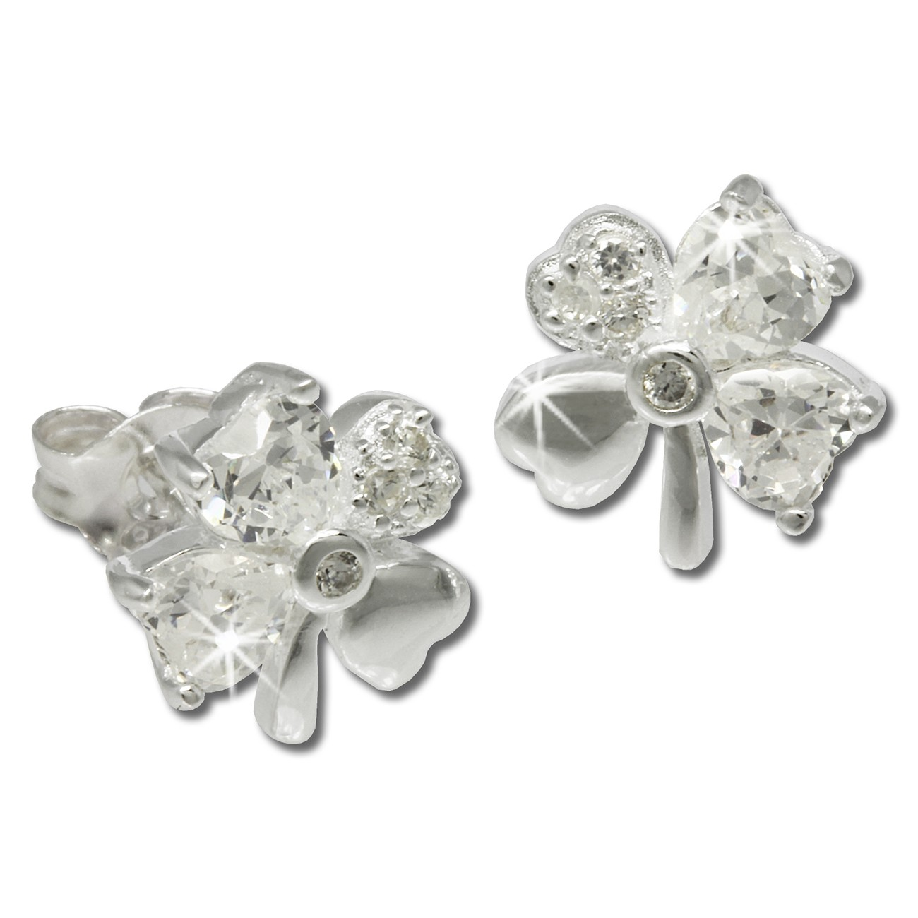 SilberDream Ohrstecker Kleeblatt weiße Zirkonia Silber Ohrringe SDO790W