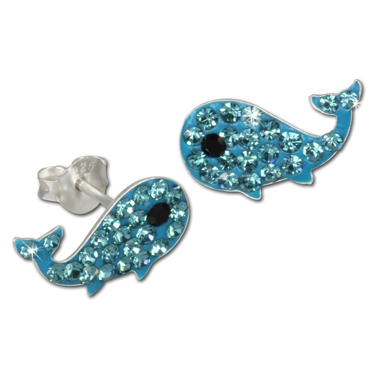 Kinder Ohrring Wal blau Silber Ohrstecker Kinderschmuck TW SDO8001H