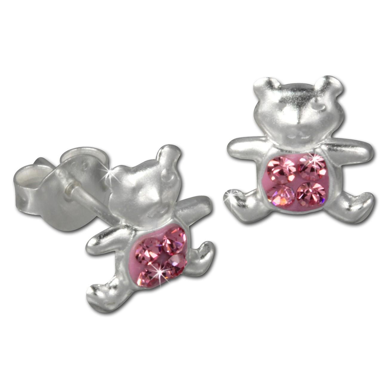 Kinder Ohrring Teddy rosa Silber Ohrstecker Kinderschmuck TW SDO8007A