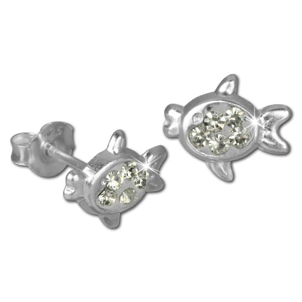 Kinder Ohrring Fisch weiß Silber Ohrstecker Kinderschmuck TW SDO8008W