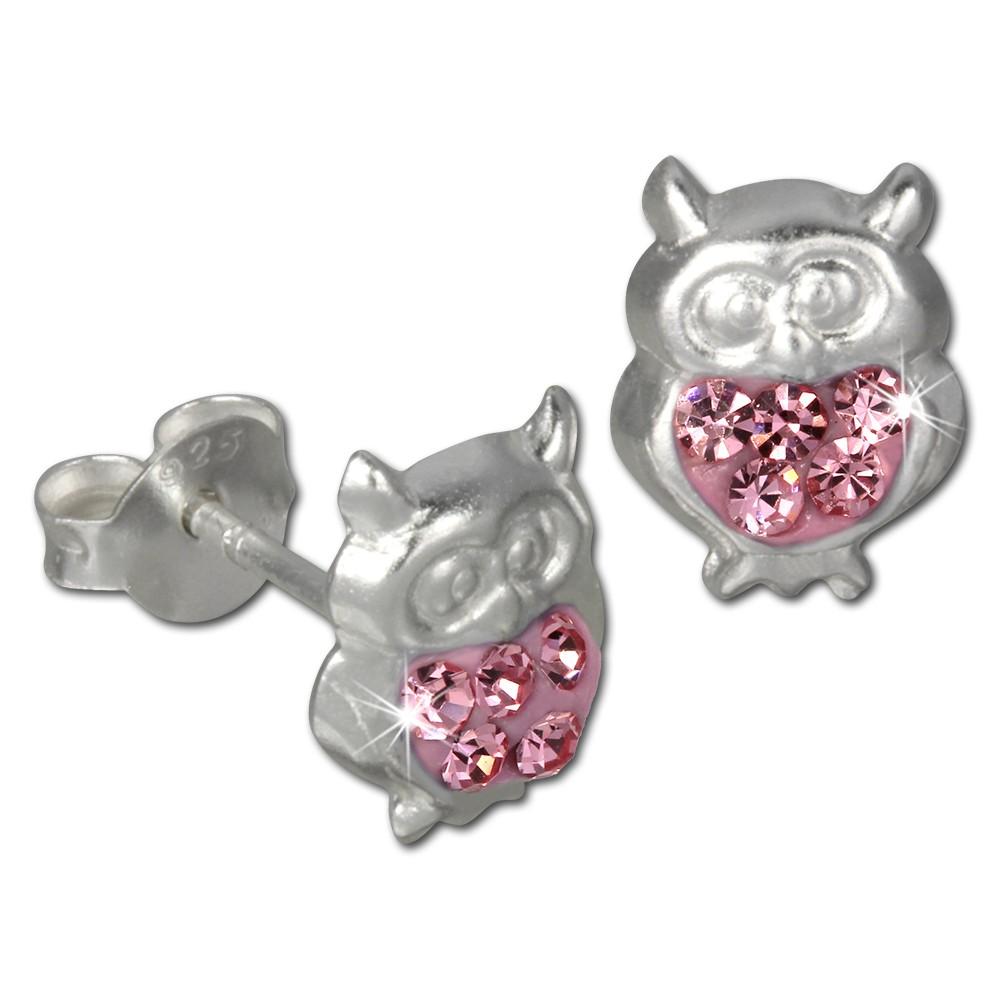 Kinder Ohrring Eule rosa Silber Ohrstecker Kinderschmuck TW SDO8009A