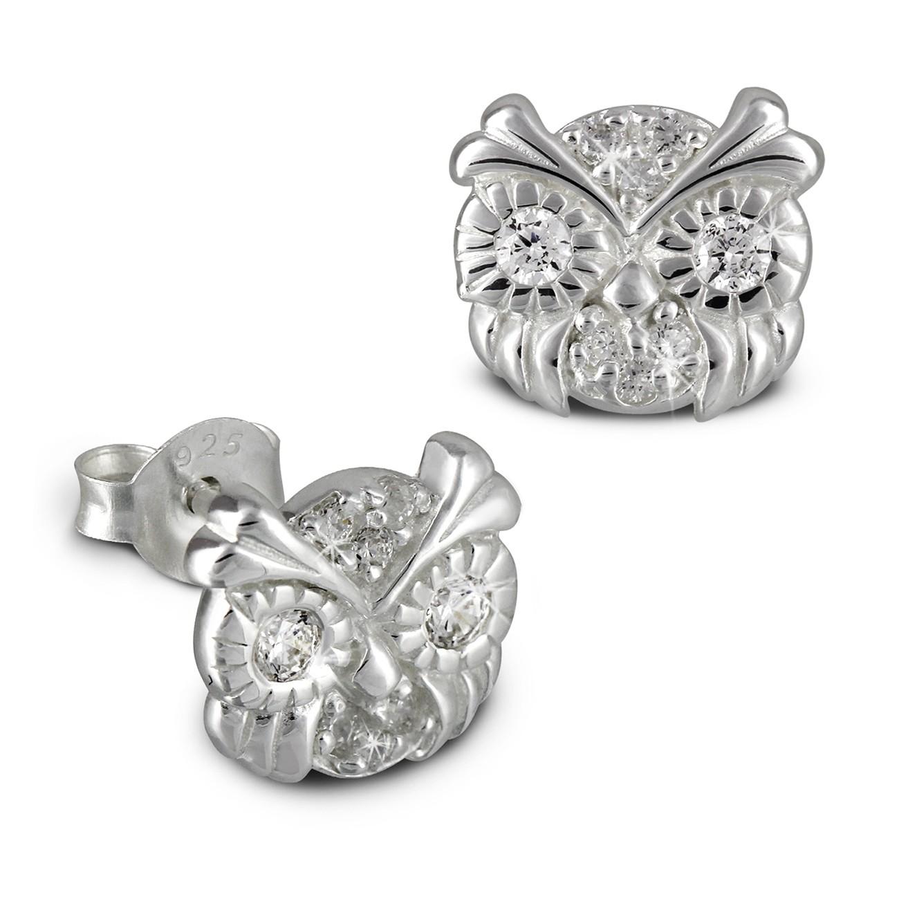 Kinder Ohrring Eulenkopf weiß Silber Ohrstecker Kinderschmuck TW SDO8012W