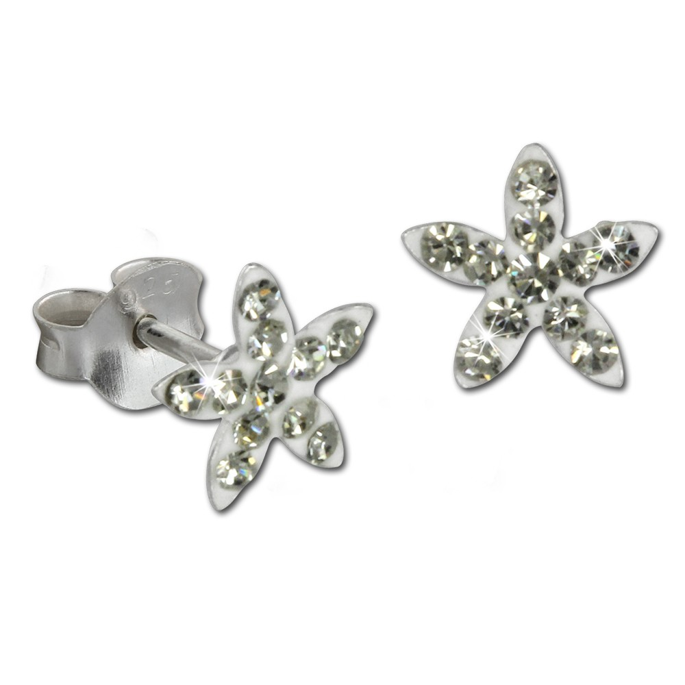 Kinder Ohrring Seestern weiß 925er Silber Kinderschmuck TW SDO8018W