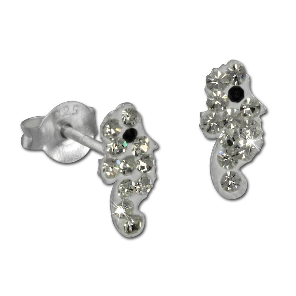 Kinder Ohrring Seepferd weiß 925er Silber Kinderschmuck TW SDO8019W