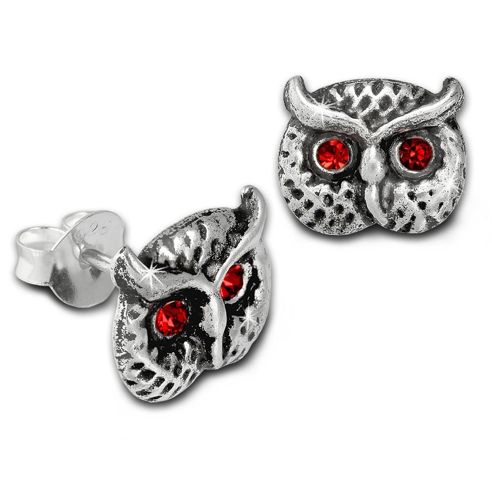 Kinder Ohrring Eulenkopf rot Silber Ohrstecker Kinderschmuck TW SDO8023R
