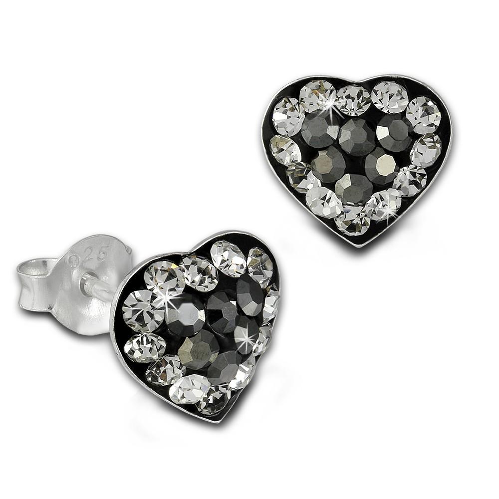 SilberDream Ohrstecker Herz Zirkonia grau 925 Silber Ohrringe SDO8024K