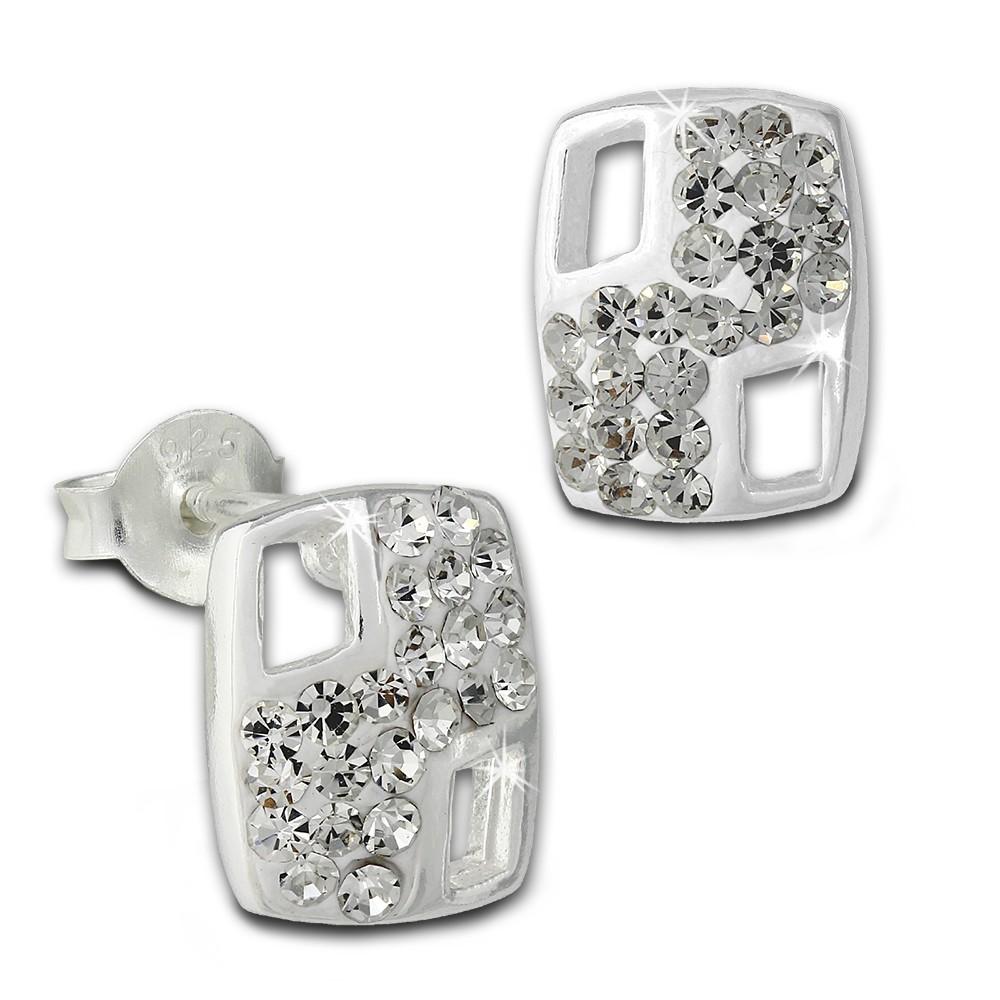 SilberDream Ohrstecker Rechteck Zirkonia weiß 925er Silber Ohrring SDO8025W