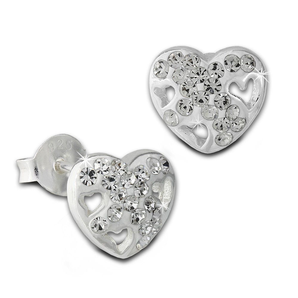 SilberDream Ohrstecker Herz Zirkonia weiß 925er Silber Ohrring SDO8026W