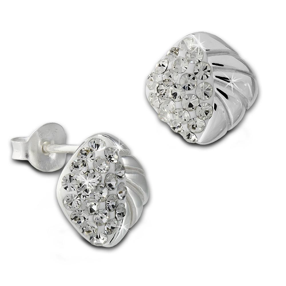 SilberDream Ohrstecker Viereck Zirkonia weiß 925er Silber Ohrring SDO8027W