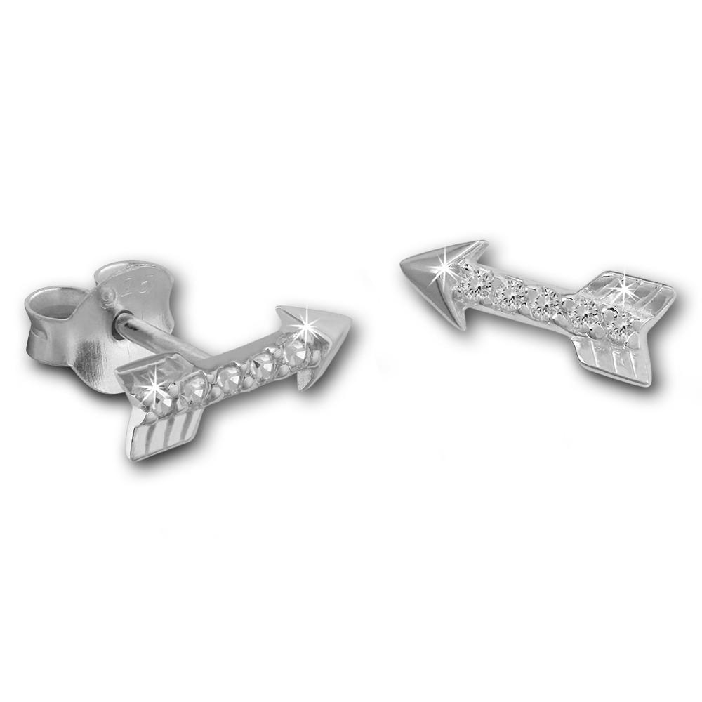 SilberDream Ohrstecker Pfeil Zirkonia weiß 925er Silber Ohrring SDO8031W