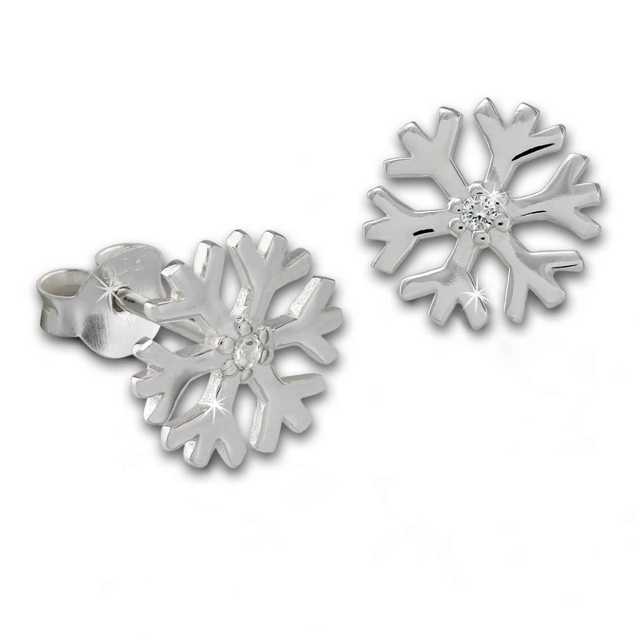 SilberDream Ohrstecker Schneeflocke Zirkonia 925er Silber Ohrring SDO8032W