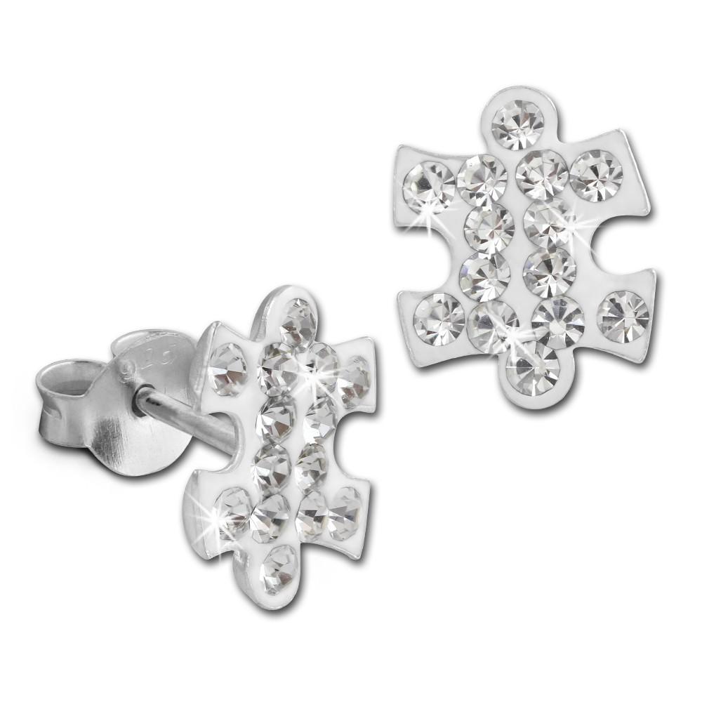 SilberDream Ohrstecker Puzzle Zirkonia weiß 925er Silber Ohrring SDO8033W
