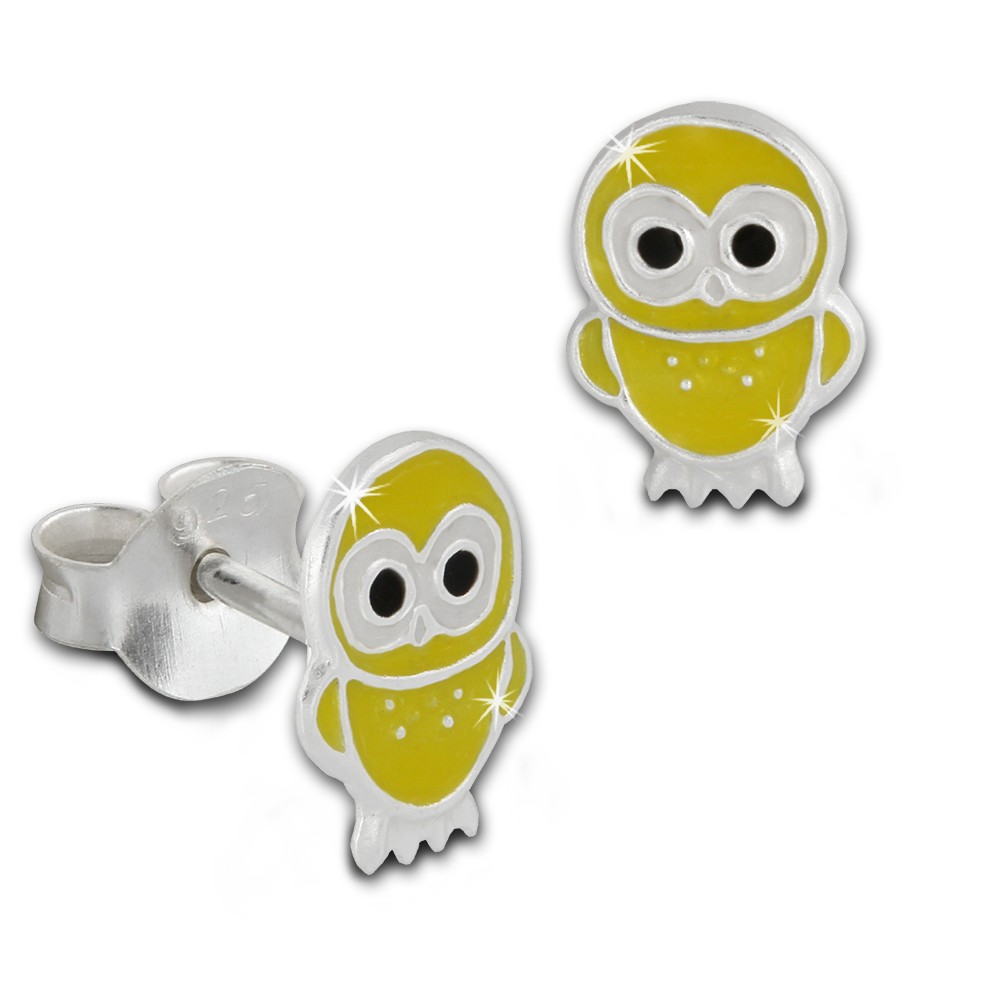Kinder Ohrring Käuzchen gelb Silber Ohrstecker Kinderschmuck TW SDO8100Y