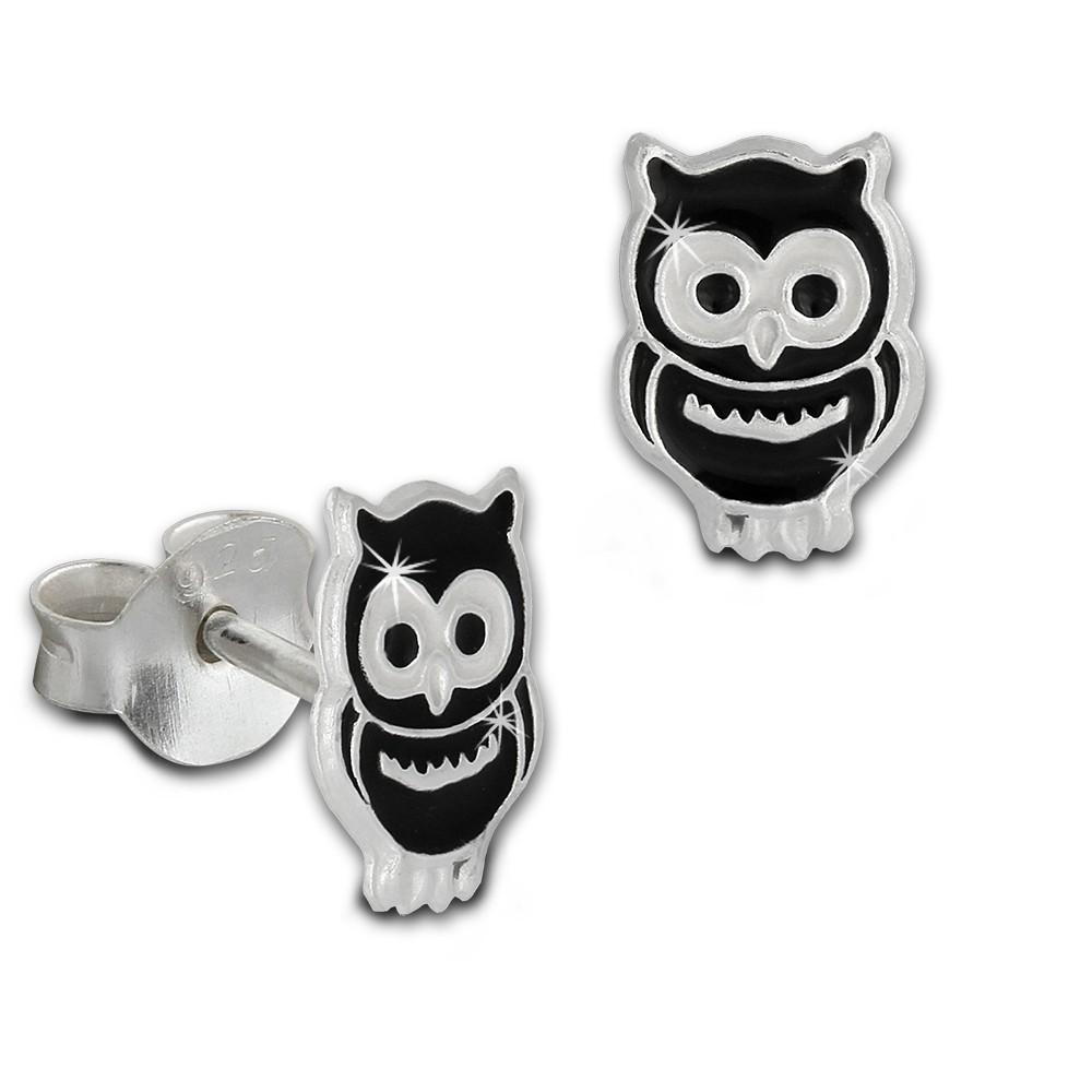 Kinder Ohrring Eule schwarz Silber Ohrstecker Kinderschmuck TW SDO8101S
