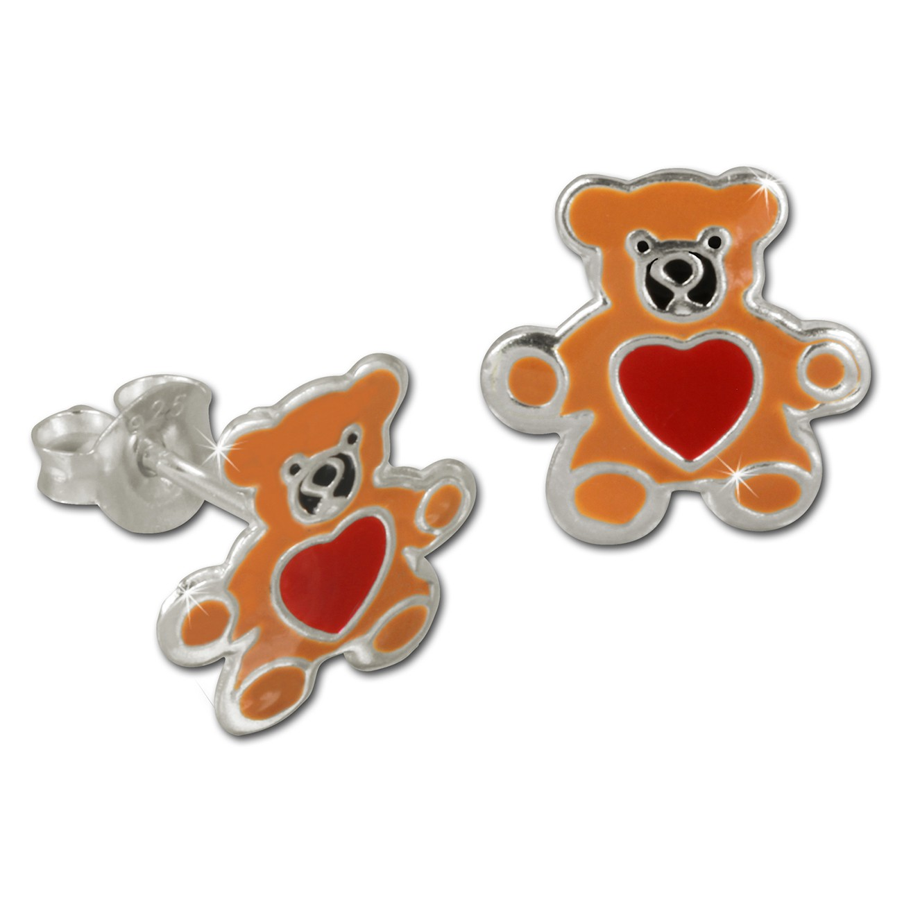 Kinder Ohrring Teddy braun Silber Ohrstecker Kinderschmuck TW SDO8104N