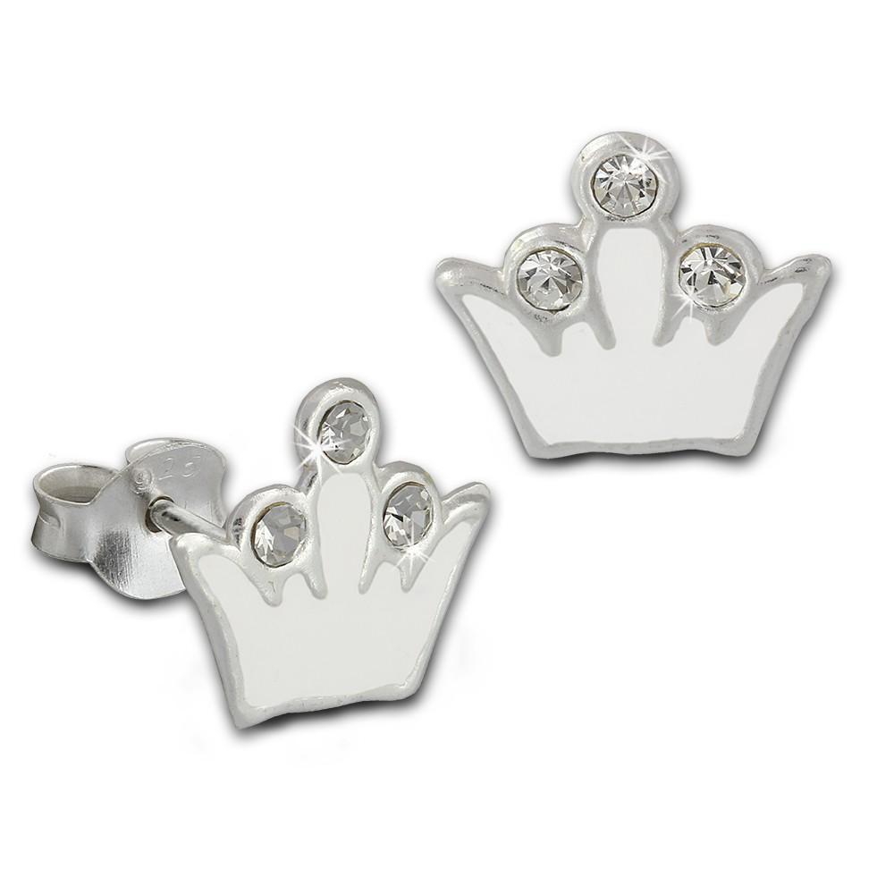 Kinder Ohrring Krone weiß Silber Ohrstecker Kinderschmuck TW SDO8105W