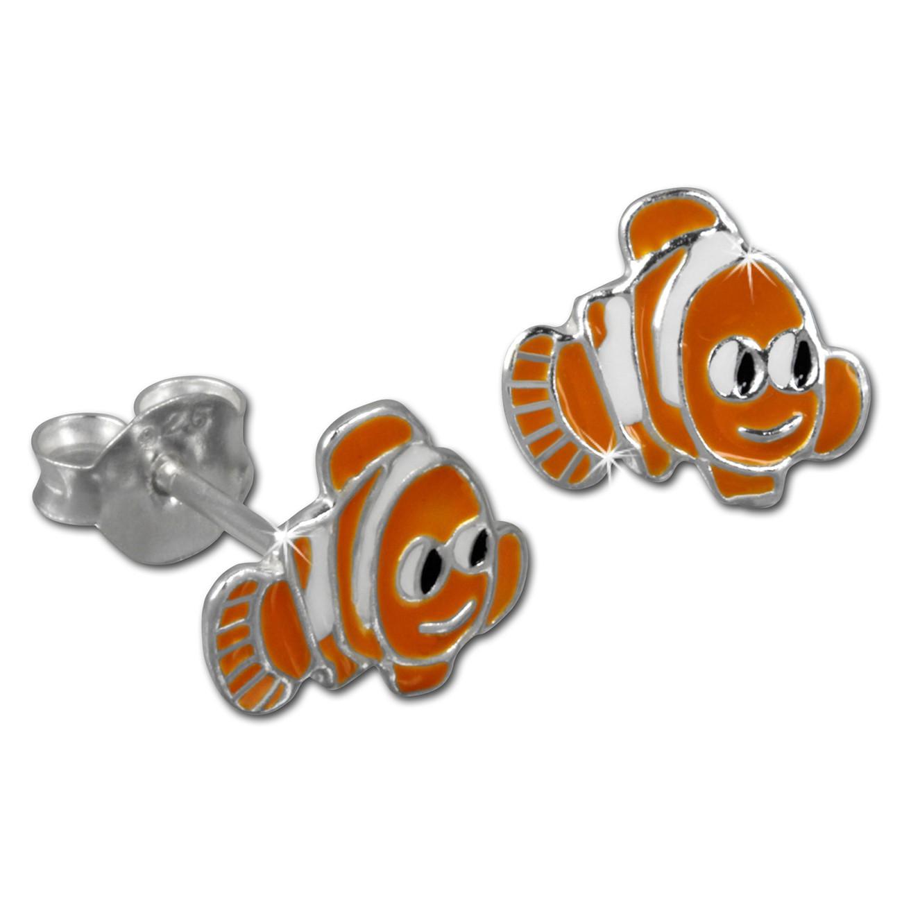 Kinder Ohrring Fisch orange Silber Ohrstecker Kinderschmuck TW SDO8113O