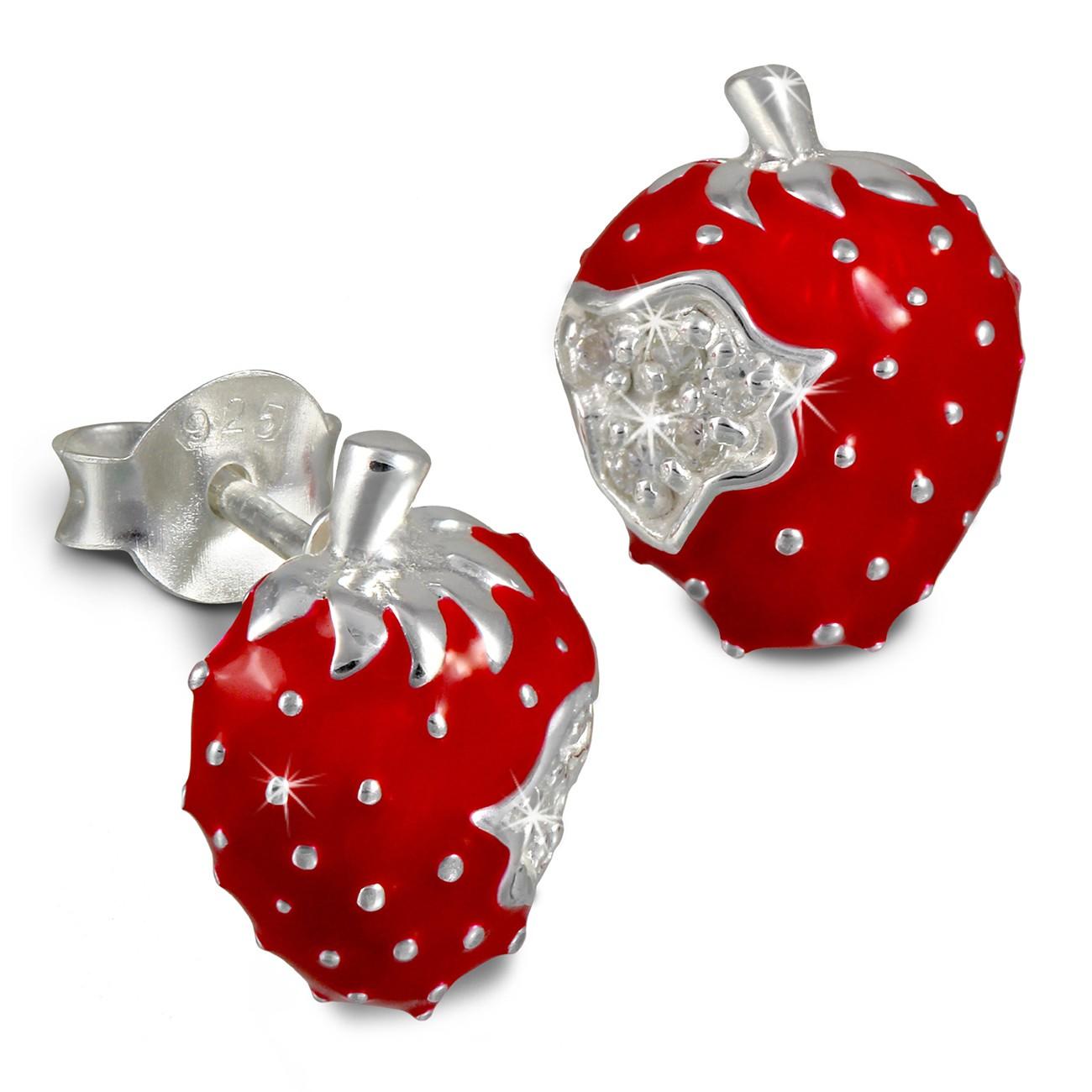 Kinder Ohrring Erdbeere rot Silber Ohrstecker Kinderschmuck TW SDO8115R
