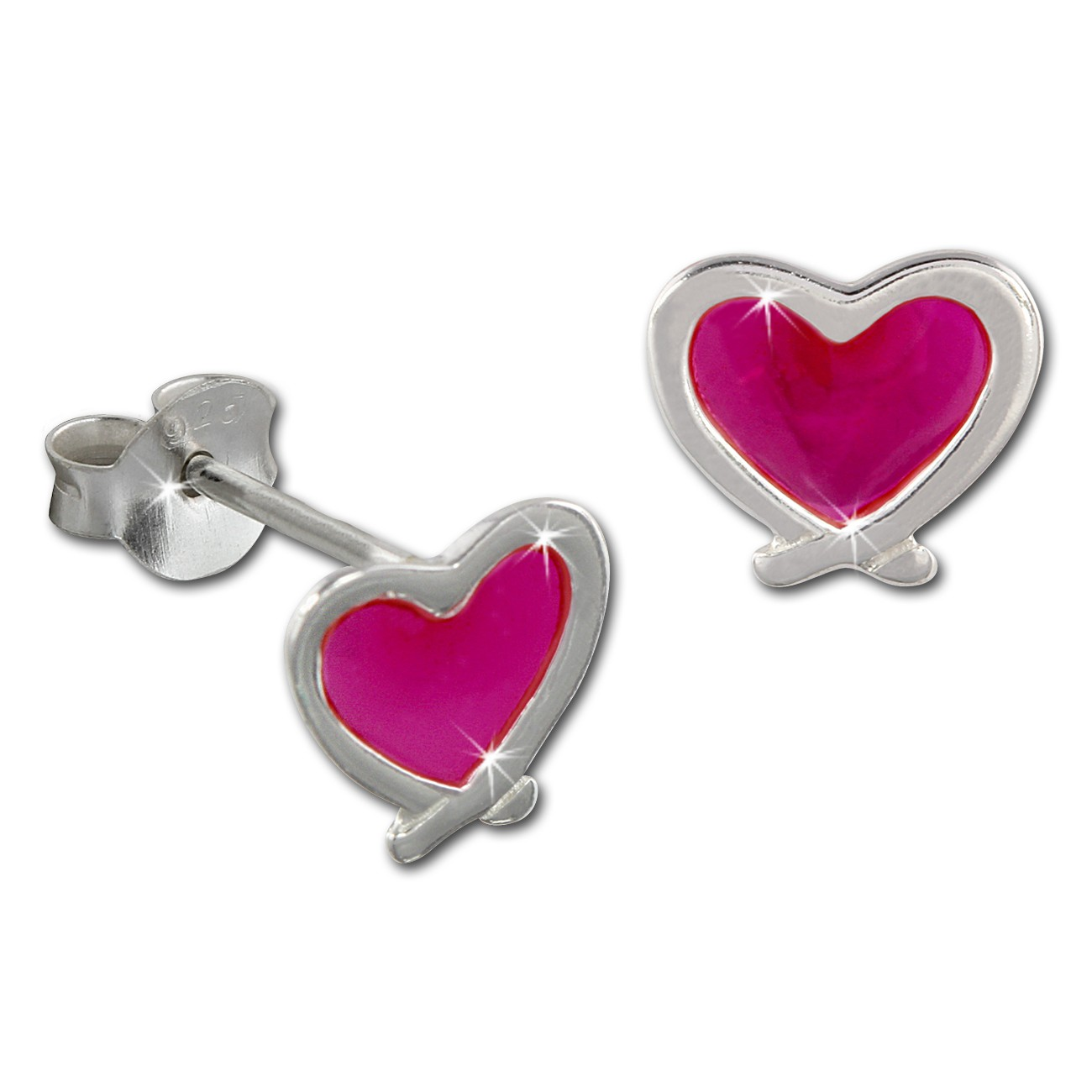 Kinder Ohrring Herz pink Silber Ohrstecker Kinderschmuck TW SDO8120P