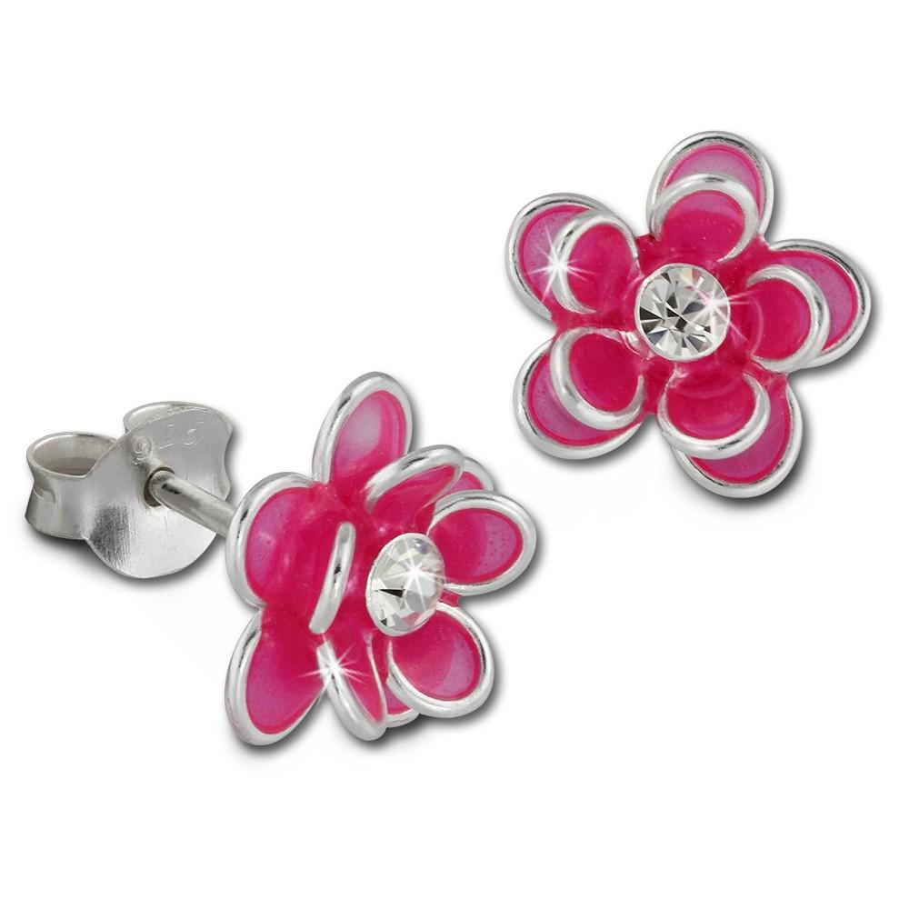 Kinder Ohrring 3D Seerose pink Ohrstecker 925 Kinderschmuck TW SDO8122P