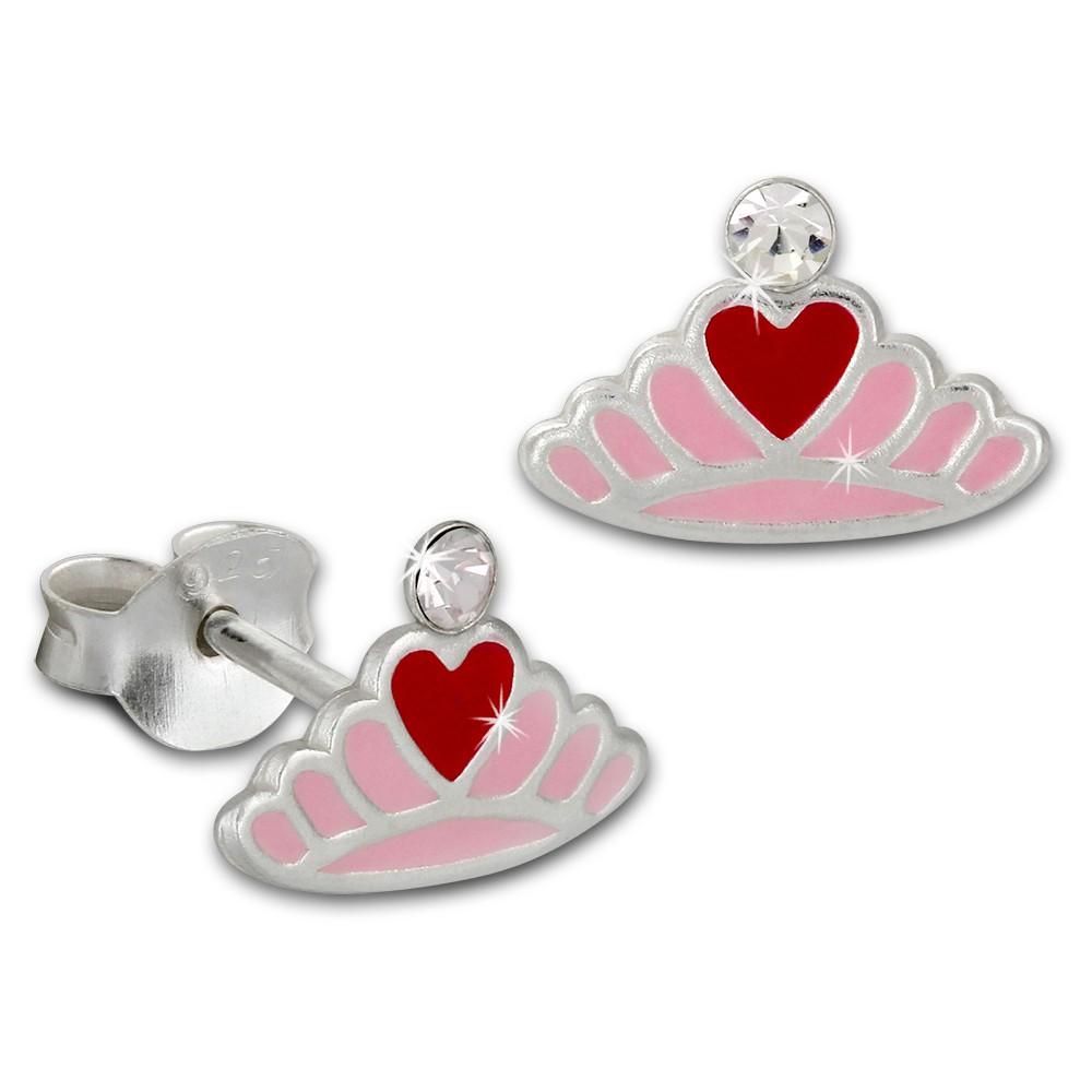 Kinder Ohrring Krone mit Herz rosa Ohrstecker 925 Kinderschmuck TW SDO8124A