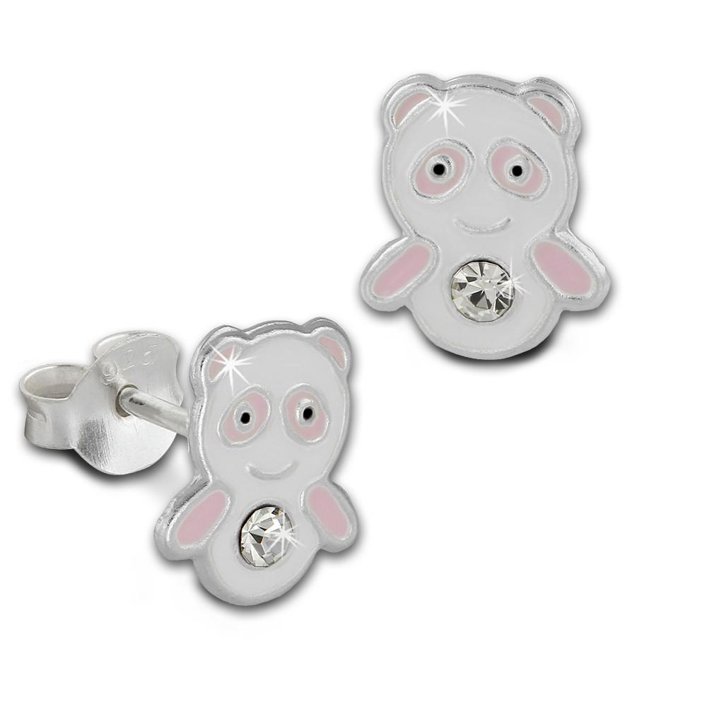 Kinder Ohrring Panda rosa/weiß Silber Ohrstecker Kinderschmuck TW SDO8125A
