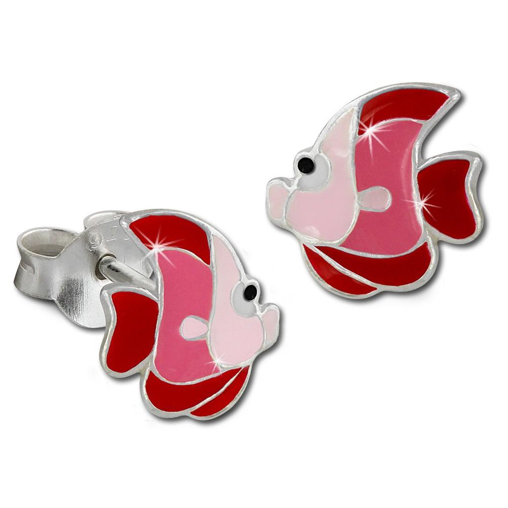 Kinder Ohrring Fisch rot/rosa Ohrstecker 925 Kinderschmuck TW SDO8126R