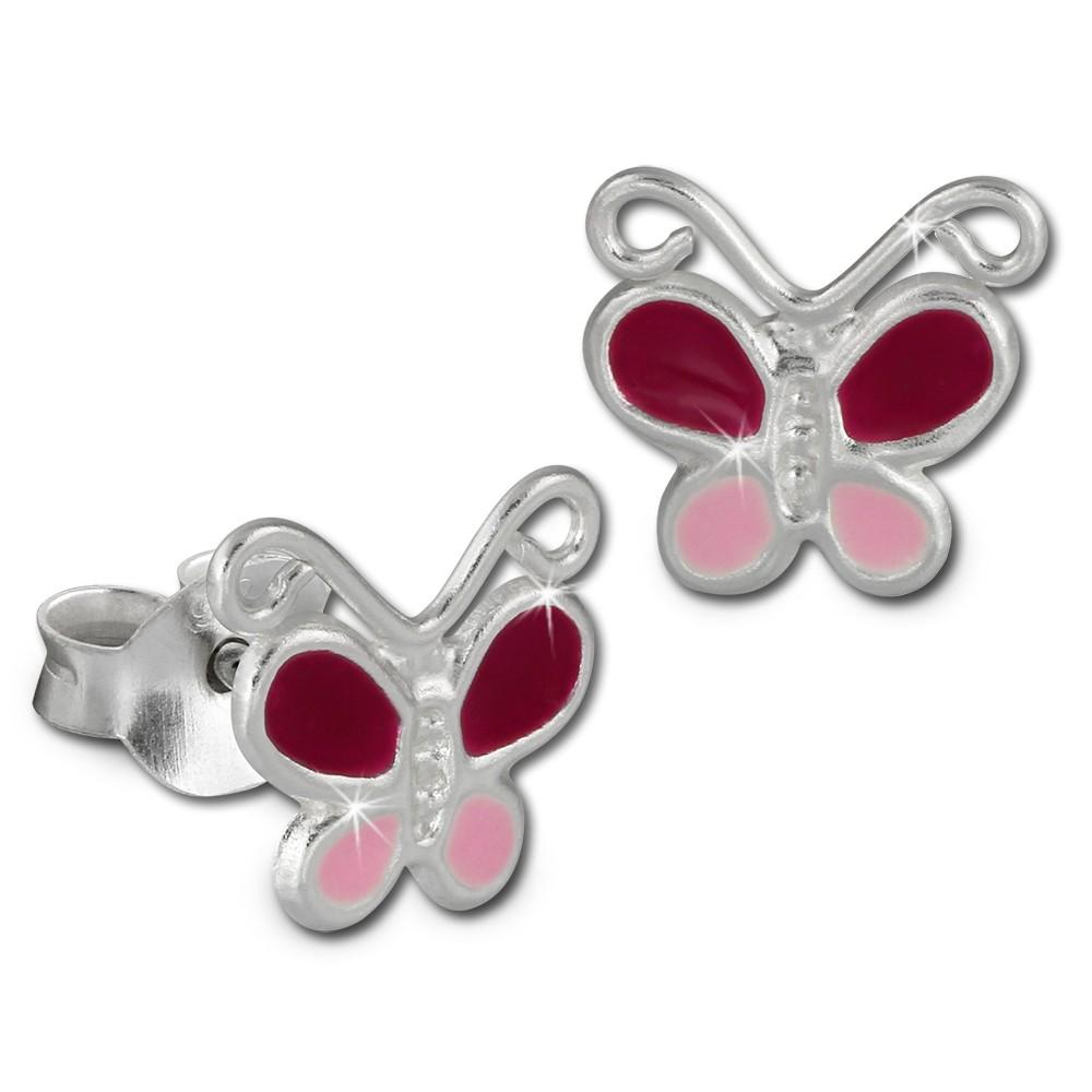 Kinder Ohrring Schmetterling pink Ohrstecker 925 Kinderschmuck TW SDO8127P