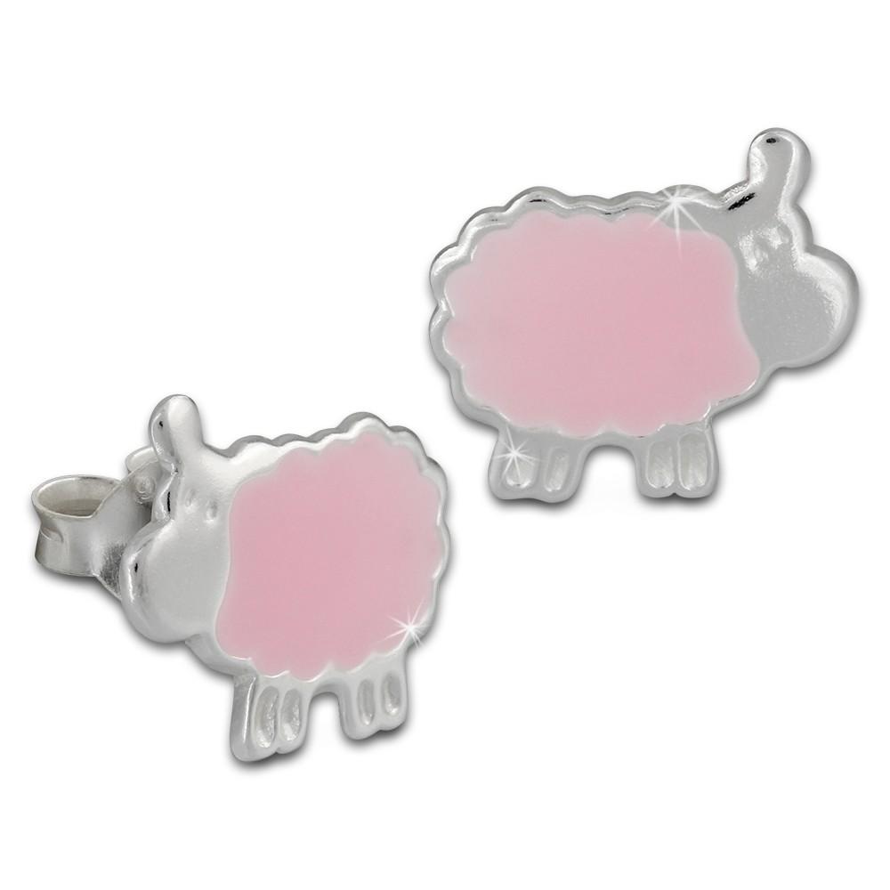 Kinder Ohrring Schäfchen rosa Silber Ohrstecker Kinderschmuck TW SDO8128A