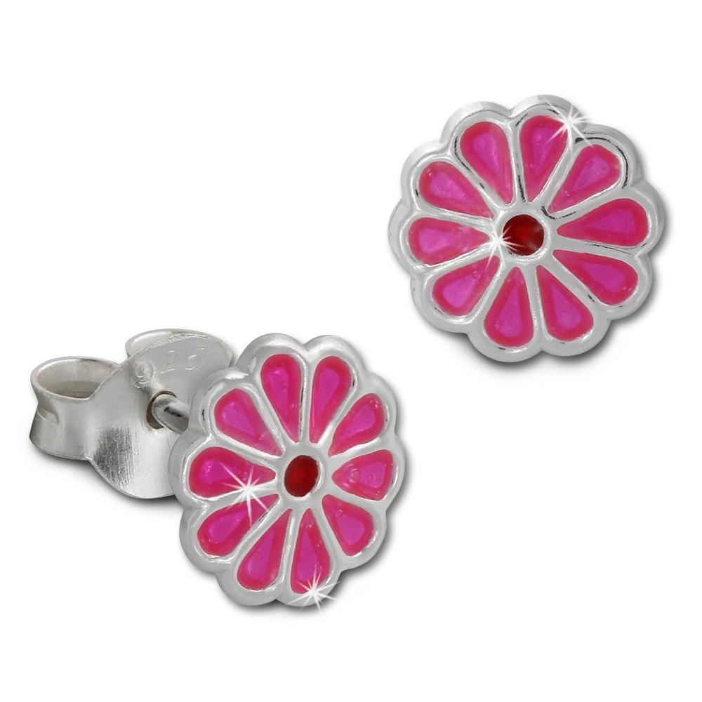 Kinder Ohrring kleine Blume pink Ohrstecker 925 Kinderschmuck TW SDO8129P
