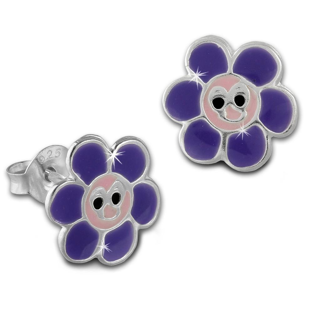 Kinder Ohrring lachende Blume lila Ohrstecker 925 Kinderschmuck TW SDO8132V