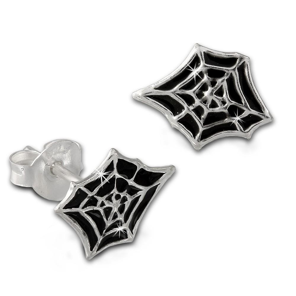Kinder Ohrring Spinnennetz schwarz Ohrstecker 925 Kinderschmuck TW SDO8134S