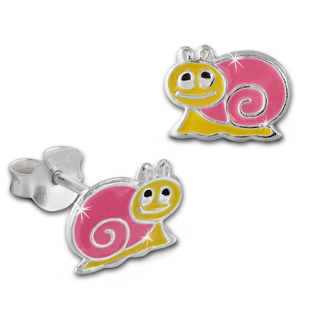 Kinder Ohrring Schnecke pink Silber Ohrstecker Kinderschmuck TW SDO8135P